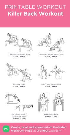 Killer Back Workout · WorkoutLabs Fit Killer Back Workout, Back And Bicep Workout, Back And Shoulder Workout, Shoulder Workout Women, Chest And Tricep Workout, Chest Workout Women, Back Workout Women, Fitness Workout For Women, Fitness Diet