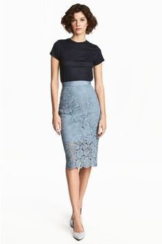 Lace pencil blue-grey skirt with viscose t-shirt
