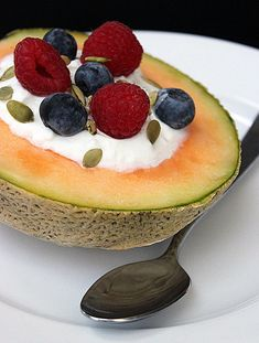 Elevate your boring morning yogurt by spooning it out of a melon bowl. Top it with fruit, nuts, or seeds, and you have a perfect breakfast!