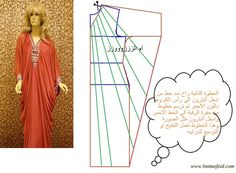 تشريح جلابية درابيه - اكاديمية بنت مفيد لتعليم الخياطة وتصميم الازياء والمهارات