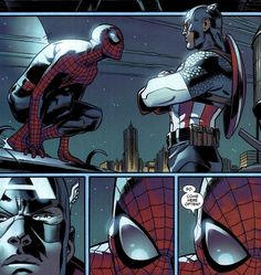 Spider-Man Captain America ~ Two favorite Marvel Super heroes. Growing up Spider-Man was my fav, but having just been introduced to Captain America in the recent movie.he is now my fave! Marvel Funny, Marvel Memes, Marvel Dc Comics, Marvel Avengers, Funny Avengers, Funny Comics, Captain America, Naruto E Boruto, Spideypool
