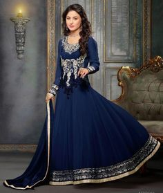 Hina Khan Georgette & Bemberg Zari & Border Work Blue Semi Stitched Long Anarkali Suit - 9055 at Rs 1470