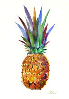 Pineapple Artwork one of a kind original whimsical watercolor painting pineapple art, pineapple painting, kitchen art tropical fruits by ORIGINALONLY on Etsy