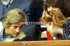 27 June 1988 Diana and Sarah, accompanied by Catherine Weatherall Soames, attend a tennis match between Steffi Graf and Mary Joe Fernandez at Wimbledon