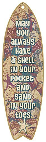 SJT41327 Sand and Shells 5 x 16 Surfboard Wood Plaque Sign ** Continue to the product at the image link. (This is an affiliate link) #HomeDecorAccents