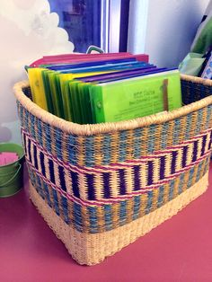 We love how elementary school teacher Mary Chappell at http://www.pinterest.com/appletreeroom/ uses our rectangular Ghana baskets to organize folders and books in her classroom! #Organizing #Classroom #Storage