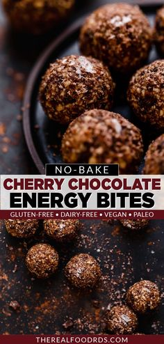 4-Ingredient snacking bliss is just 15 minutes away with these Dark Chocolate Cherry Energy Bites. The perfect grab-and-go snack that is healthy and will satisfy your sweet tooth. A quick and easy energy bites recipes that is great for your weekend meal prep session. Gluten Free Appetizers, Gluten Free Snacks, Vegan Snacks, Easy Snacks, Dairy Free Recipes, Healthy Snacks, Good Healthy Recipes, Real Food Recipes, Snack Recipes