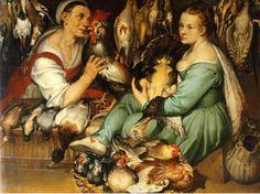 Bartolomeo Passarotti (Italian artist, 1529-1592)  Les marchandes de volaille, 1577 Selling birds