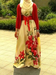 Cute! Floral dress w/ red cardigan n a ivory hijab