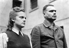 "Irma Grese, ""The Hyena of Auschwitz"" & the ""Beast of Bergen-Belsen,"" Josef Kramer, commandant of Bergen-Belsen, face the photographer while under British arrest. They were both sentenced to death & hanged."