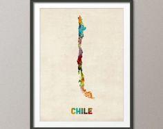 Chile Watercolor Map, Art Print (538)
