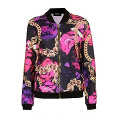 TOPSHOP **Roses and Chains Bomber by Jaded London ($46) ❤ liked on Polyvore featuring outerwear, jackets, tops, shirts, topshop, pink, pattern jacket, pink jacket, pink zip jacket and zipper jacket