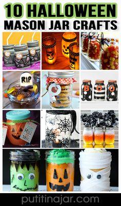 Mason Jar Crafts - 10 Halloween Mason Jar Craft Ideas with DIY Tutorials | #crafts #masonjars via Put it in a Jar (putitinajar.com)