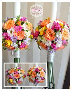 Brave Events - Lumanari de cununie pentru nunta si botez 8 Martie, Girl Christening, Candels, Bouquets, Wedding Flowers, Floral Wreath, Wreaths, Weddings, Table Decorations