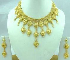 Gold Plated 3pcs Choker Indian Bridal Necklace Earring Jewelry Set Valentine 579 | eBay