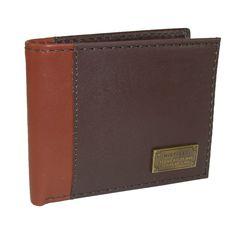 New Tommy Hilfiger Men/'s Navy//Burgundy Leather Bifold  Passcase Wallet