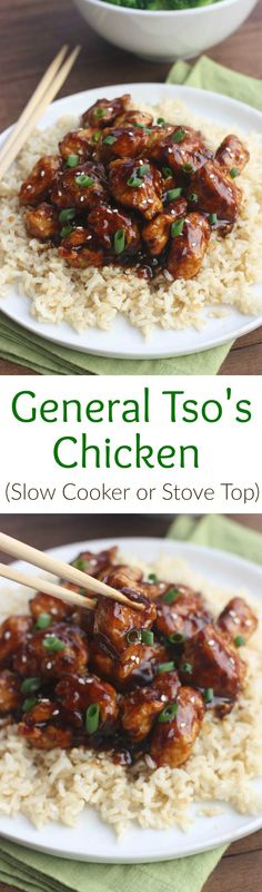 General Tso's Chicken recipe made using the slow cooker or on the stove top! Better than takeout!  Tastes Better From Scratch
