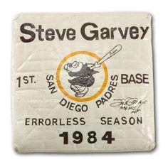 STEVE GARVEYS 1984 SAN DIEGO PADRES SIGNED AND INSCRIBED GAME USED 1ST BASE HONORING GARVEYS ERRORLESS SEASON (GARVEY LOA)