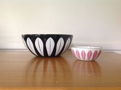 Rare CathrineHolm Lotus Black Enamel Bowl 8 by TheWelcomeTable, $225.00