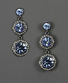 Givenchy Earrings, Pave Blue Glass Three Drop Earrings