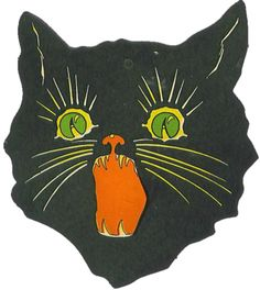 Cat Cardboard Decoration is part of Cats illustration This is an old cardboard Halloween decoration A little cat& head! Sorry for the poor picture quality I scanned it - Vintage Halloween Photos, Posca Art, Wow Art, Art Graphique, Halloween Cat, Retro Halloween, Psychedelic Art, Grafik Design, Aesthetic Art
