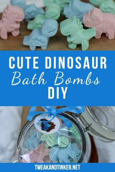"""This is a fun DIY project you can do with kids. Dinosaur bath bombs that make cute homemade gifts and birthday party favors for kids made using food coloring. gifts for kids Cute Dinosaur Bath Bombs aka """"Dino Bombs"""" - Tweak and Tinker Diy Holiday Gifts, Diy Gifts For Kids, Diy For Kids, Diy Gifts To Make, Mason Jar Crafts, Mason Jar Diy, Wrapping Ideas, Bath Bomb Recipes, Cute Dinosaur"""