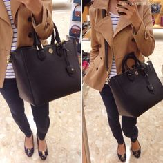 Tory Burch Robinson Leather Tote Bag, Salvatore Ferragamo flats