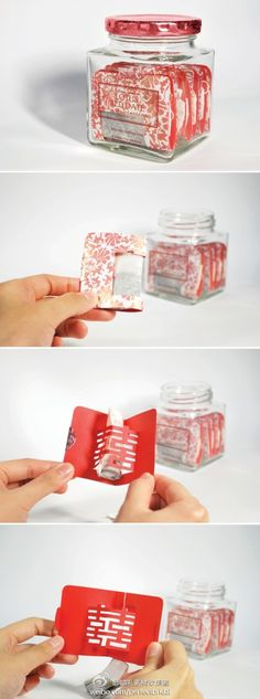 Very creative wedding tea packaging. Could be used for bath herbs or more. The inner cute out could be almost any design.