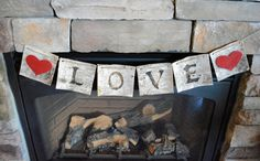 Birch Bark Rustic Love Banner by OutWestAccents on Etsy, $23.00