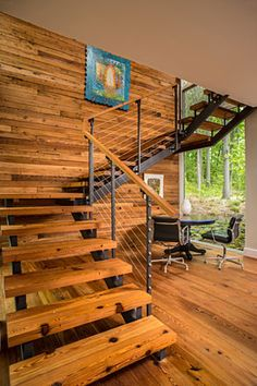 Wooden stair in rural Virginia residence New River Gorge, Cliff House, Wooden Stairs, Interior Decorating, Interior Design, Metal Buildings, Staircase Design, Architecture, Cladding