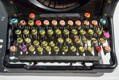 An emoji typewriter at the Emoji Art and Design Show.