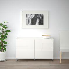 BESTÅ Storage combination w doors/drawers, walnut effect light gray, Selsviken/Stallarp high-gloss/white - walnut effect light gray/Selsviken/Stallarp high-gloss/white - cm - drawer runner, push-open - IKEA Frame Shelf, Ikea Family, Drawer Fronts, Interior Accessories, Cheap Furniture, Storage Spaces, Hallway Storage, Home Furnishings, Living Spaces