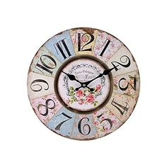 Shabby Chic Floral Patchwork Clock Vintage Wall Clocks for Living... ($16) ❤ liked on Polyvore featuring home, home decor, clocks, floral tray, word clock, battery wall clocks, battery powered clock and colorful clocks