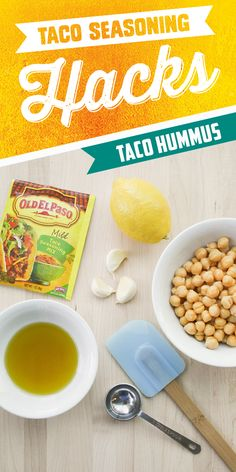 Looking for a delicious twist on hummus? Add Old El Paso Taco Seasoning to this 4-ingredient hummus recipe for a new homemade favorite! Whip it up in less than 10 minutes!