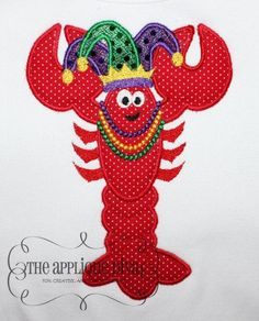 Mardi Gras Crawfish Embroidery Design Machine Applique. $2.99, via Etsy.