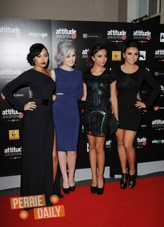 Little Mix with updos. Also, Leigh Anne's dark lipstick and Perrie's gray/white hair are crazy beautiful.