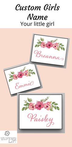 Custom Print Ready to Frame, Gifts For New Parents, New Baby Gifts, Make Your Own Sign, Cute Wall Decor, Painted Wooden Signs, Adoption Gifts, Name Frame, Girl Sign, Home Decor Signs