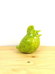 Vintage Avocado Green Bird Figurine / Scouring by VintageEdition