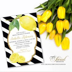 Fresh Lemon with Black and White Stripes and Gold Glitter Bridal Shower Invitation Printable Fresh Squeezed Lemonade Main Squeeze by SimplySocialDesigns on Etsy https://www.etsy.com/listing/232527831/fresh-lemon-with-black-and-white-stripes