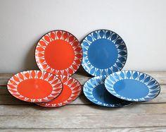 set of 6 vintage danish modern enamelware plates