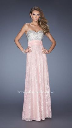 Sequined Lace Gown by La Femme 20385 Cotton Candy PinkOutlet