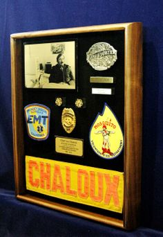 Custom-made shadow box for a fire chief's retirement gift. By ShadowBoxUSA.com.