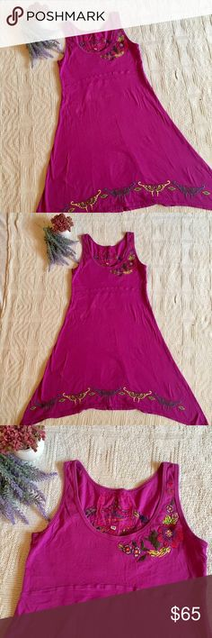 Johnny Was Embroidered Racerback Dress Beautiful racerback tank dress by Johnny Was Los Angeles. Gorgeous embroidered detailing that features the most adorable floral and butterfly detailing. Unique hemline with longer sides and embroidered butterflies. Super soft cotton fabric. This piece is the perfect casual dress for all of your summertime adventures. Great condition!! Johnny Was Dresses