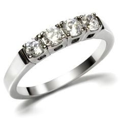 Four Round Cut Clear Cz Silver Stainless Steel Ladies Ring