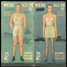 We're All in This Together Mummy and Daddy Put on Uniforms WWII, Raphael Tuck