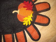 Fall Pumpkin Penny rug oval with tabs orange by 3LaughingPumpkins