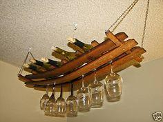 Hanging Wine Glass Bottle Rack Oak Barrel Stave 12 | eBay