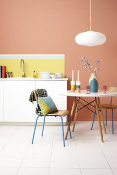Copper Blush kitchen with canary yellow splash back and pops of teal. Styled for HomeStyle magazine and photographed by Jo Henderson