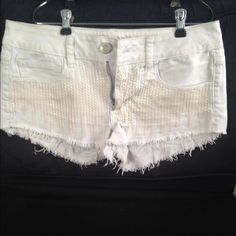 White Sequin Shorts American Eagle shorts with white sequin design on front. American Eagle Outfitters Shorts Jean Shorts