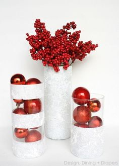 Are you looking for beautiful DIY Dollar Store Christmas decorations you can make for with your kids? Try these stunning Dollar Store Christmas Crafts to decorate your home in 2019 on a small budget! Christmas Vases, Dollar Store Christmas, All Things Christmas, Christmas Time, Christmas Decorations, White Christmas, Outdoor Christmas, Simple Christmas, Christmas Island